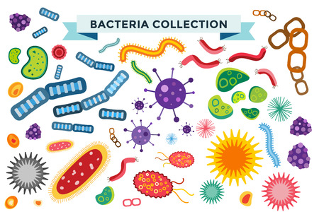 bio: Bacteria virus vector icons set. Biology microorganisms, microbes germs and bacilli. Vector biology icons, medical virus icons, bugs isolated. Virus science microbe vector icons. Virus bacteria icons Illustration