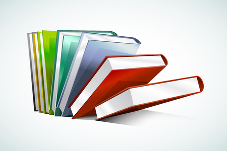 books isolated: Book 3d vector illustration isolated on white. Back to school. Education, university, college symbol or knowledge, books stack, publish, books page paper. Books stack. Books isolated. Books vector