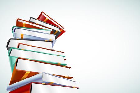 literatura: Libro ilustración vectorial 3d aislado en blanco. De vuelta a la escuela. Educación, Universidad, símbolo o conocimiento universitario, libros de pila, publicar, papel página de los libros. Pila de libros. Libros aislados. Libros vectorial Vectores