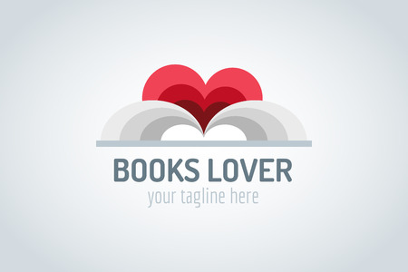 red  open: Books heart vector