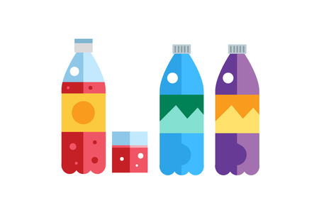 aerated: Water, soda and juice or tea bottles vector Illustration. Set of vector bottles icons. Clean water, fresh juice, nature drinks. Water bottle isolated. Soda bottle vector icon. Drinks bottles silhouette