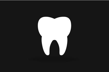 dientes: Diente silueta Icono del vector blanco y negro. Vectores
