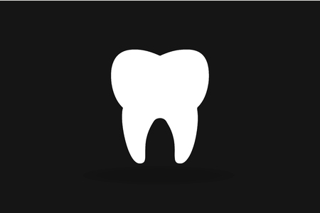 doctor care: Tooth black and white Icon vector silhouette.