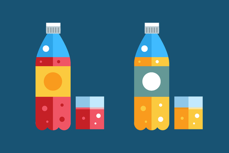 shaken: Water, soda and juice or tea bottles vector Illustration. Set of vector bottles icons. Clean water, fresh juice, nature drinks. Water bottle isolated. Soda bottle vector icon. Drinks bottles silhouette