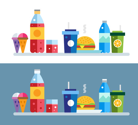 take out: Fast food vector objects set. Fast food restaurant. Water bottle, juice box and coke bottle, eat, ice cream, hamburger, hot dog, lemonade. Food icons. Take out food. Isolated Illustration