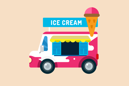 white cream: Ice cream vector truck van. Icecream isolated vectors. Candy ice cream. Tasty frozen, cartoon vector, set. Ping, red, blue, green, red ice cream. Ice cream transportation vector. Ice cream shop