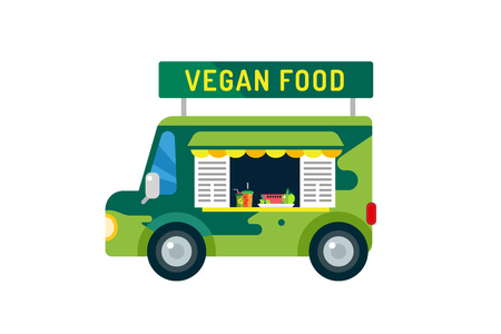take time out: Vegan city food car van icon. Take out food. Nature product, vitamin symbol, auto restaurant, mobile kitchen, hot fastfood, green vegetables. Vegan food, nature products. Food market. Isolated on white