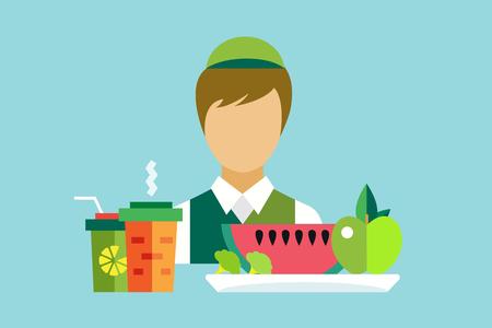 vegan food: Vegetarian city food restaurant. Food object icons set. Man seller silhouette. Nature products, vitamins, restaurant, kitchen, green vegetables, food market. Fast food worker man silhouette. Vegan food