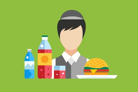 food market: Fast food restaurant food vector objects set. Water bottle, juice or soda bottle and glass, hamburger. Mobile food, fast food worker, food marker seller, lunch time. Food icons. Food market