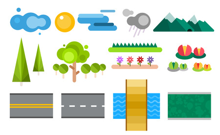 constructor: Landscape constructor icons set. Buildings, houses, trees and architecture signs for map game texture. Mountains, river, sun. Design element Isolated on white.Tree vector,road elements,city elements