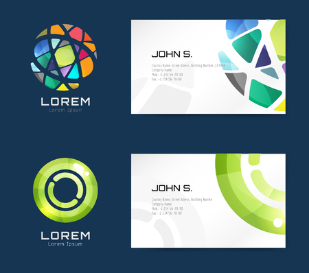 globe arrow: Vector business card template set. Globe and ring logo icons. Abstract geometric low poly design and creative identity cards. Plank, paper print. Business card design. Globe logo. Circle ring logo Illustration