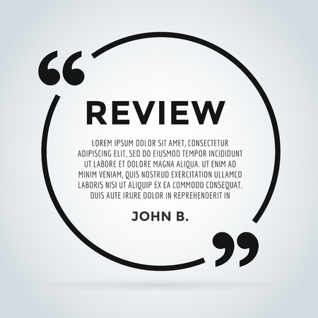 review: Website review quote citate blank template. Website review vector icon. Quote comment template. Quote bubble. Shop customer review template. Circle review template, paper sheet, information, text. Customers review design. Quote form. Web site comment vect