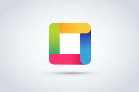 square logo: Abstract square logo vector template. Corner geometric shape and symmetric symbol, square icon, box logo or box square shape. Company logo. Geometric design. Square logo. Square design. Square icon
