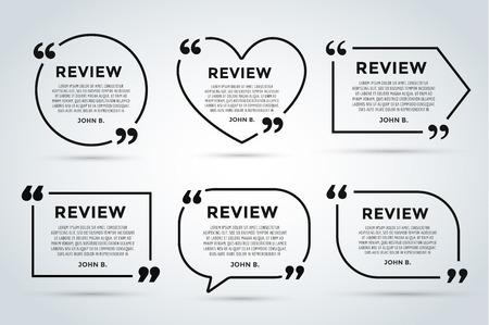 sjabloon: Website review citaat citate lege sjabloon. Website review vector icon. Quote Opmerkingen template. Quote zeepbel. Shop klanten beoordeling template. Cirkel beoordeling sjabloon, vel papier, informatie, tekst. Klanten herzien ontwerp. Quote vorm. Website reactie vect