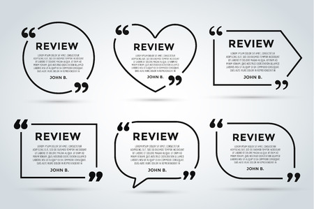 texts: Website review quote citate blank template. Website review vector icon. Quote comment template. Quote bubble. Shop customer review template. Circle review template, paper sheet, information, text. Customers review design. Quote form. Web site comment vect