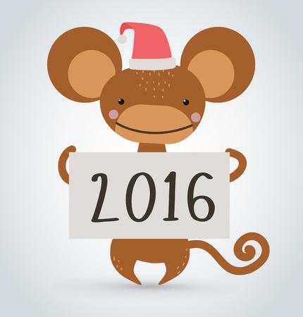 mono caricatura: A�o Nuevo mono de Navidad de dibujos animados de animales salvajes tenencia 2016 vector de la tarjeta de dibujos animados. Mono salvaje de dibujos animados. Mono mono de Navidad. Mono de dibujos animados. Simio vector que sostiene la nueva tabla de a�o. Celebraci�n del mono hoja de papel de 2016 de texto