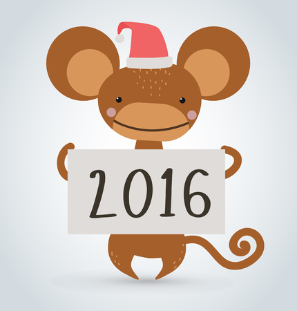 monkey cartoon: New Year Christmas ape wild cartoon animal holding 2016 board vector cartoon. Wild cartoon monkey. Christmas ape monkey. Monkey cartoon illustration. Vector ape holding new year board. Monkey holding 2016 text paper sheet