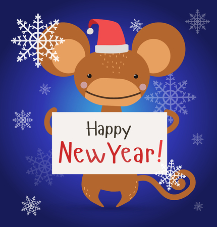 ape: New Year Christmas ape wild cartoon animal holding 2016 board vector cartoon. Wild cartoon monkey. Christmas ape monkey. Monkey cartoon illustration. Vector ape holding new year board. Monkey holding 2016 text paper sheet