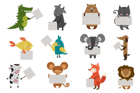 dieren: Wild dier dierentuin staking schoon bord bord vector cartoon set. Vector wilde dieren. Jungle dieren. Huisdieren silhouet. Vector dieren. Vos, leeuw en aap. Kat en hond, olifant, krokodil, vis, beer, papegaai, koe, geit. Zee, bos dieren slaan. Vector een