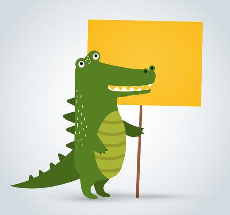 crocodile: Wild animal zoo crocodile holding strike clean plate board vector cartoon. Wild vector crocodile. Jungle green crocodile. Wild crocodile silhouette. Vector animals. Crocodile holding board. Vector animals Illustration