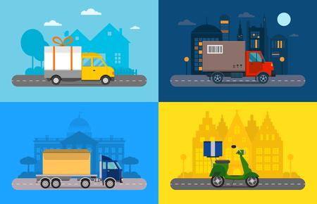 Levering vector transport vrachtwagen, bestelwagen en motorfiets geschenkdoos verpakking. Bezorgservice bestelwagen, vrachtwagen, levering motorfiets. Leveringsdoos silhouet. Product goederen verzending vervoer. Snelle levering vervoer geïsoleerd. Vector levering vervoer