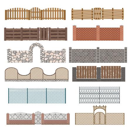 울타리 및 게이트의 다른 디자인은 흰색 배경에 고립입니다. 울타리 및 게이트입니다. 울타리 및 게이트 절연 벡터입니다. 나무 울타리, 야금 울타리,