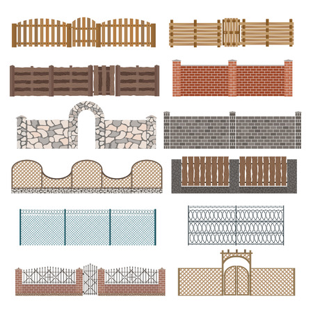 stone background: Different designs of fences and gates isolated on a white background. Fences and gates illustration. Fences and gates vector isolated. Wooden fence, metall fence, stone fence. Fence house buildings vector element