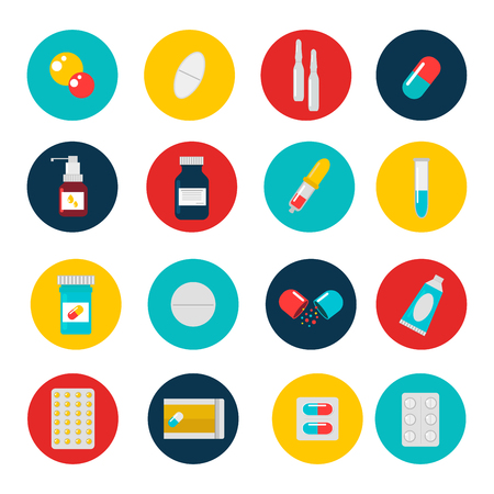 pharmacy symbol: Pills capsules icons vector flat set. Medical vitamin pharmacy vector pills illustration. Pills, capsule, drugs, box and bottle. Pills vector bottle box. Pills isolated icons