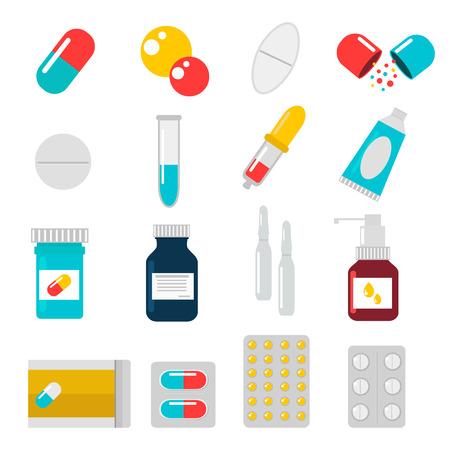 pastillas: Píldoras cápsulas fijadas iconos plana vectorial. Médico vitamina píldoras farmacia ilustración vectorial. Píldoras, cápsulas, las drogas, la caja y la botella. Píldoras del vector cuadro de botella. Píldoras iconos aislados Vectores