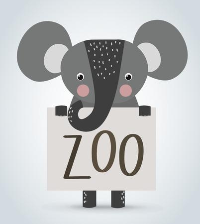 ELEFANTE: Elefante animal del dibujo animado salvaje celebración limpia bienvenidos vector tablero de zoo. Mascotas vectorial elefante. Animales salvajes elefante. Elefante de dibujos animados zoológico. Elefante vectorial celebración de pizarra. Elefante que sostiene la tarjeta del texto de bienvenida zoológico