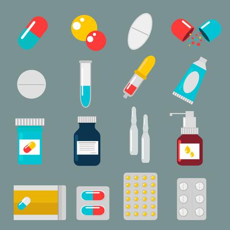 witaminy: Pigułki kapsułki ikon wektorowych płaski zestaw. Medycyna witaminy pigułki apteka ilustracji wektorowych. Tabletki, kapsułki, leki, skrzynki i butelki. Pigułki wektor pola butelki. Pastylki samodzielnie ikony