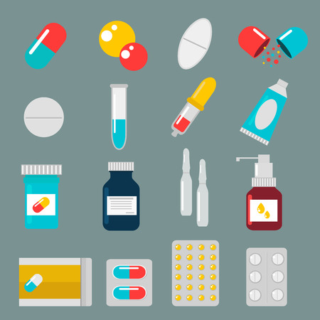 Pills capsules icons vector flat set. Medical vitamin pharmacy vector pills illustration. Pills, capsule, drugs, box and bottle. Pills vector bottle box. Pills isolated icons Imagens - 47554948