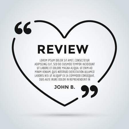 Website review hart citaat citaat lege sjabloon. Website review vector icon. Quote commentaar template. Quote bubble. Shop klantbeoordelingen template. Circle beoordeling sjabloon, vel papier, informatie, tekst