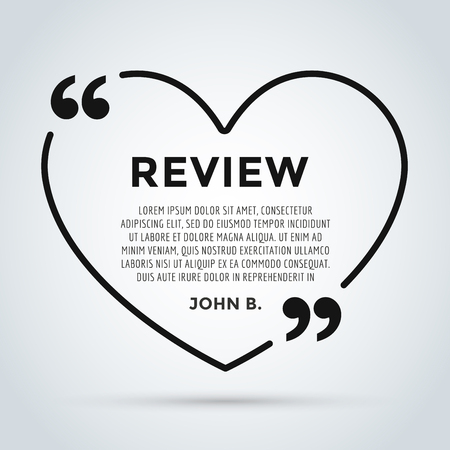 review icon: Website review heart quote citation blank template. Website review vector icon. Quote comment template. Quote bubble. Shop customer review template. Circle review template, paper sheet, information, text