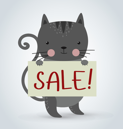 white house: Cat pet animal holding clean sale plate board vector cartoon. Pets vector kitty. Home pets gray cat. Cat cartoon illustration. Vector cat holding white sale board. Cat holding sale text board. Shop website sale