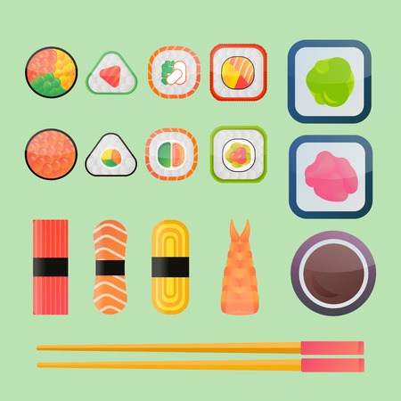 sushi chopsticks: Sushi vector flat icons set. Soy sauce, sushi roll. Japanese food sushi icons. Vector cartoon sushi set collection. Sushi  vector silhouette, sushi flat modern collection. Sushi restaurant food. Seafood, food, sushi, salmon, roll
