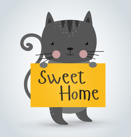 cute text box: Cat pet animal holding clean welcome sweet home board vector cartoon. Pets vector kitty. Home pets gray cat. Cat cartoon illustration. Vector cat holding white sale board. Cat holding Welcome text board