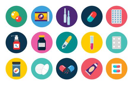 알약 캡슐 벡터 평면 설정 아이콘. 의료 비타민 약국 벡터 알약 그림입니다. 알약, 캡슐, 마약, 상자와 병입니다. 약은 병 상자를 벡터. 알 약 아이콘입 일러스트