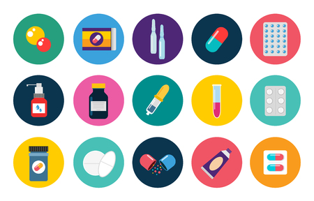 Pills capsules icons vector flat set. Medical vitamin pharmacy vector pills illustration. Pills, capsule, drugs, box and bottle. Pills vector bottle box. Pills isolated icons. Medical icons vector set