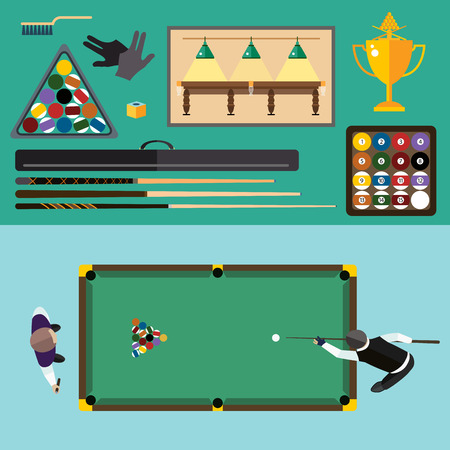 billiards rooms: Billiards flat illustration. Billiards  pool game accessories. Billiards club, billiards table and billiards players. Billiard pool game balls icons set vector illustration. Billiards vector, billiards sport, billiards people. Billiards competition