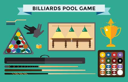 pool game: Billiards flat illustration. Billiards  pool game accessories. Billiards club, billiards table and billiards players. Billiard pool game balls icons set vector illustration. Billiards vector, billiards sport, billiards people. Billiards competition