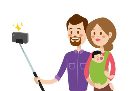 selfie: Selfie family portreit vector illustration. Selfie shot man, woman, small kid. Vector selfie people set. Selfie vector concept modern family with selfie photo camera. Family smile, family concept