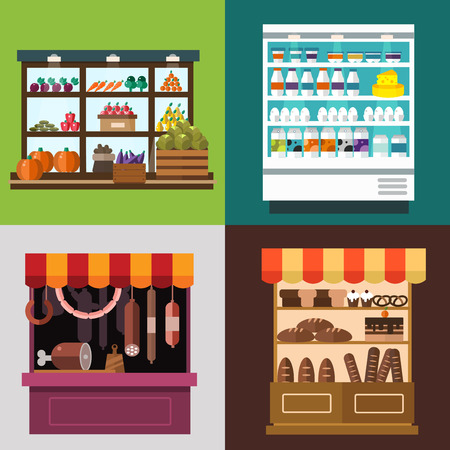 Fruit, vegetables, milk products, meat, bakery shop stall vector set. Fruit and vegetables market view. Milk products on shop stall. Meat shop vector illustration. Food supermarket, food shop, food store. Delivery food service