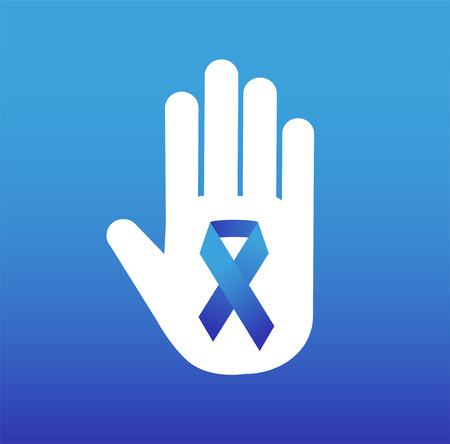 rak: Zatrzymaj raka logo medycznej koncepcji ikony. wstążki Rak, Rak piersi świadomość symbol, samodzielnie na tle. ilustracji wektorowych raka wstążka raka ludzie i ludzkiej dłoni zatrzymania symbolu. kliniki medyczne koncepcja
