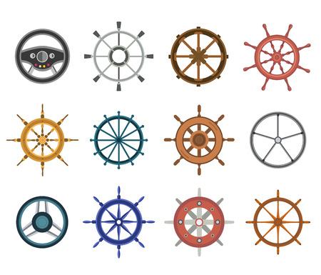 Zestaw wektora steru płaskie ikony. Ilustracja koła steru. ustawić kontroli koła steru łodzi ikon wektorowych. Stery, statki, se, koło, okrągły, kontrola, jacht, rejs. Ikona steru. Ikony koła. Ster i koło izolowane