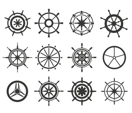 timon barco: Vector timón iconos planos en blanco y negro establecen. Ilustración de la rueda del timón. Iconos timón vector de control de la rueda del barco establecen. Timones, los barcos, se, rueda, redondo, de control, de yates, cruceros. Icono del timón. Iconos ruedas. Timón y rueda aislada Vectores