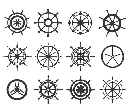 Vector rudder black and white flat icons set. Rudder wheel illustration. Boat wheel control rudder vector icons set. Rudders, ships, se, wheel, round, control, yacht, cruise. Rudder icon. Wheel icons. Rudder and wheel isolated Vettoriali