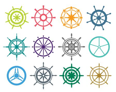 timon de barco: Vector iconos timón planos establecidos. Ilustración de la rueda del timón. Iconos timón vector de control de la rueda del barco establecen. Timones, los barcos, se, rueda, redondo, de control, de yates, cruceros. Icono del timón. Iconos ruedas. Timón y rueda aislada
