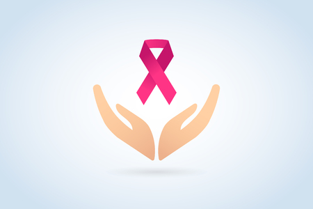 cancer symbol: Stop cancer medical logo icon concept. Cancer pink ribbon, breast cancer awareness symbol, isolated on background. Vector illustration of cancer ribbon logo for people cancer and human hand Stop symbol. Medical clinics concept