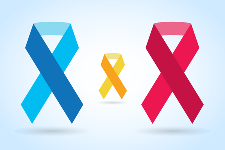 cancer symbol: Stop cancer ribbon medical logo icon concept. Cancer ribbon, breast cancer awareness symbol, isolated on background. Vector illustration of cancer ribbon logo for people cancer and cancer icon symbol. Medical clinics concept